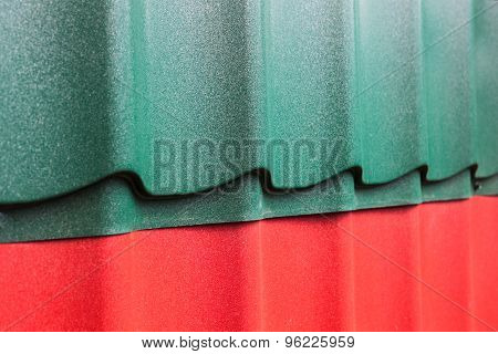Samples of corrugated roofing