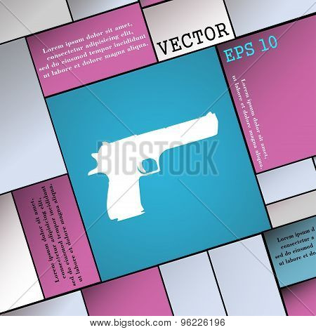 Gun Icon Sign. Modern Flat Style For Your Design. Vector