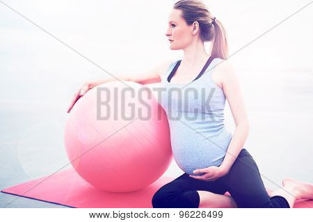 Pregnant Woman Doing Pilates Exercises