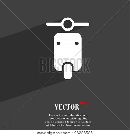 Motorcycle Icon Symbol Flat Modern Web Design With Long Shadow And Space For Your Text. Vector