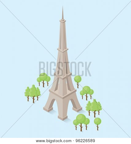 Vector 3d flat isometric monument of Eiffel Tower in Paris