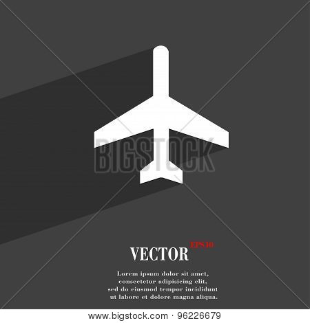 Airplane Icon Symbol Flat Modern Web Design With Long Shadow And Space For Your Text. Vector