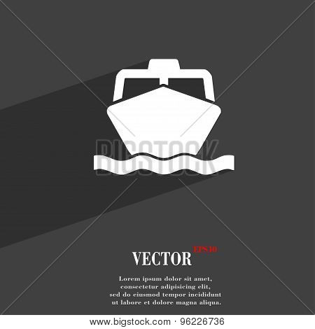 The Boat Icon Symbol Flat Modern Web Design With Long Shadow And Space For Your Text. Vector