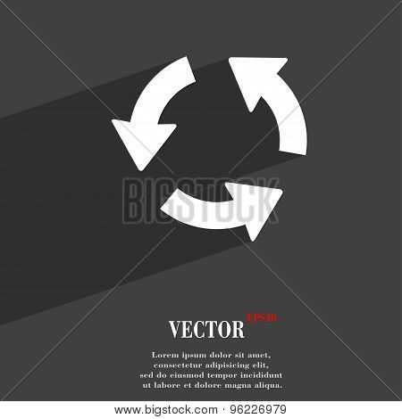 Refresh Icon Symbol Flat Modern Web Design With Long Shadow And Space For Your Text. Vector