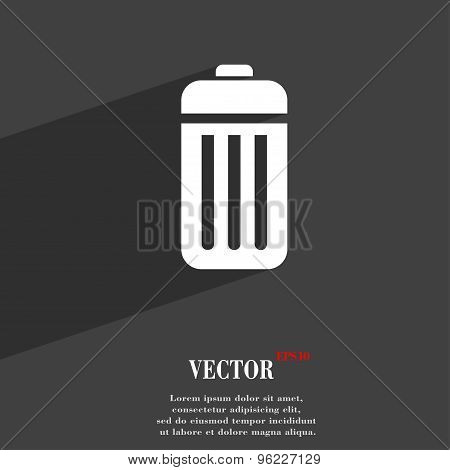 The Trash Icon Symbol Flat Modern Web Design With Long Shadow And Space For Your Text. Vector