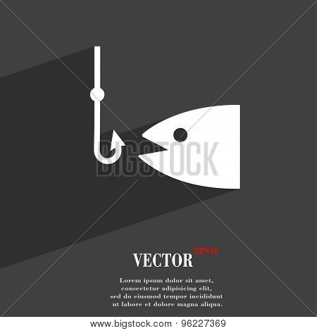 Fishing Icon Symbol Flat Modern Web Design With Long Shadow And Space For Your Text. Vector