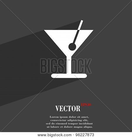 Cocktail Icon Symbol Flat Modern Web Design With Long Shadow And Space For Your Text. Vector