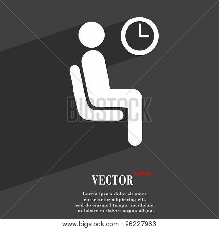 Waiting Icon Symbol Flat Modern Web Design With Long Shadow And Space For Your Text. Vector