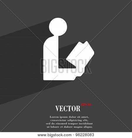 Read A Book Icon Symbol Flat Modern Web Design With Long Shadow And Space For Your Text. Vector