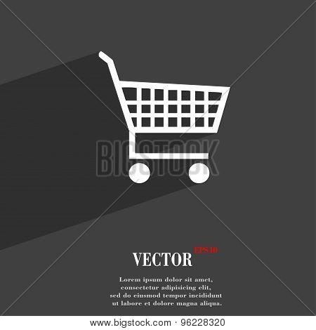 Shopping Cart Icon Symbol Flat Modern Web Design With Long Shadow And Space For Your Text. Vector