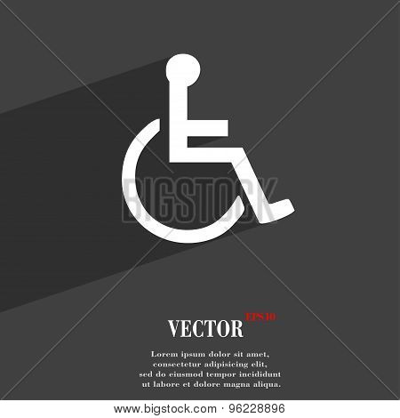 Disabled Icon Symbol Flat Modern Web Design With Long Shadow And Space For Your Text. Vector