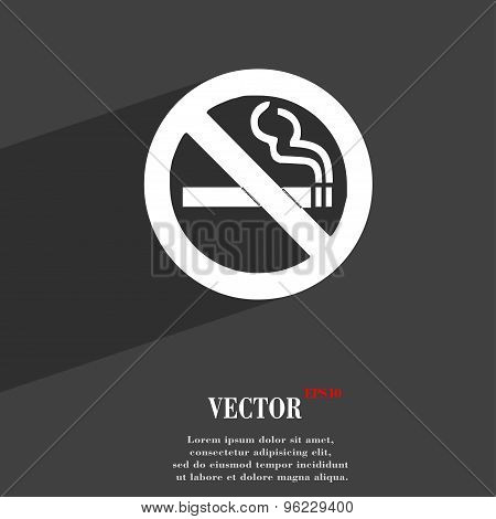No Smoking Icon Symbol Flat Modern Web Design With Long Shadow And Space For Your Text. Vector