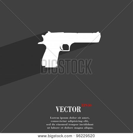 Gun Icon Symbol Flat Modern Web Design With Long Shadow And Space For Your Text. Vector
