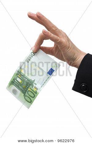 hand holding 100 euro bill