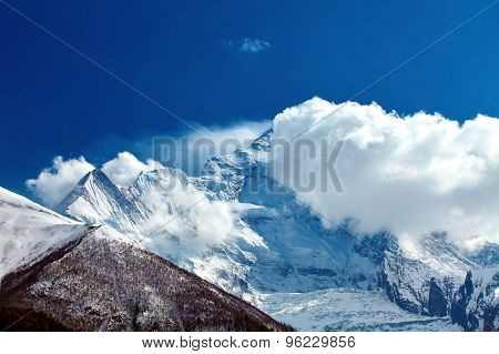 Snow capped mountains.