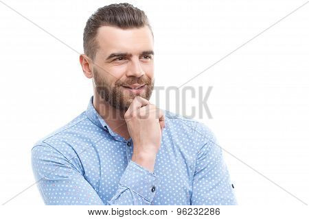 Portrait of thinking man on isolated background
