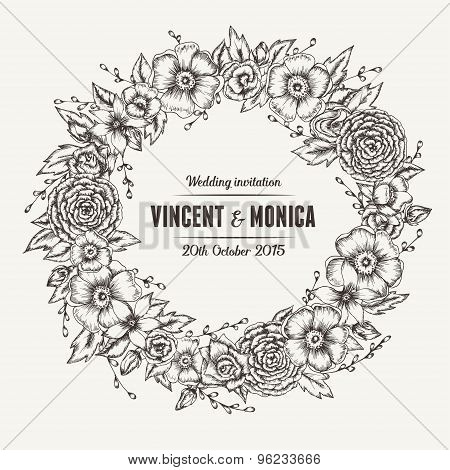 Vector vintage floral wedding invitation.