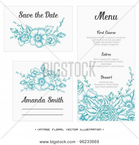Wedding set. Menu, save the date, guest card.