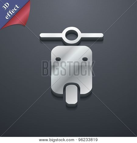 Motorcycle Icon Symbol. 3D Style. Trendy, Modern Design With Space For Your Text Vector