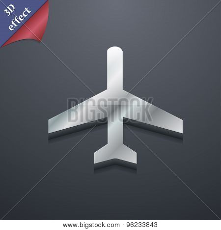 Airplane Icon Symbol. 3D Style. Trendy, Modern Design With Space For Your Text Vector