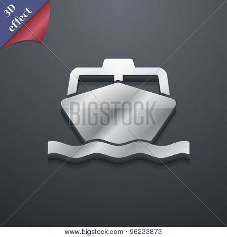 The Boat Icon Symbol. 3D Style. Trendy, Modern Design With Space For Your Text Vector
