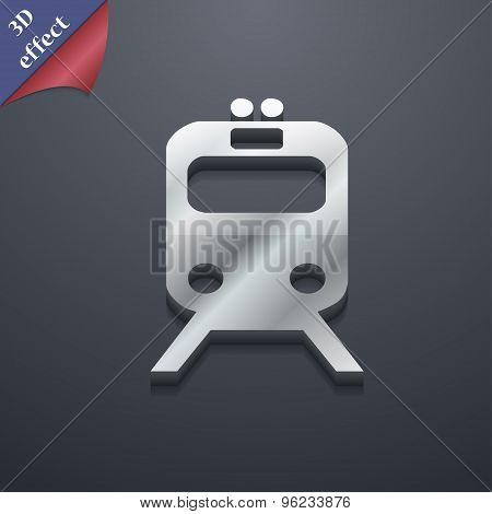 Train Icon Symbol. 3D Style. Trendy, Modern Design With Space For Your Text Vector