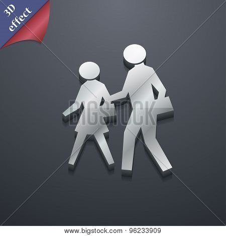Crosswalk Icon Symbol. 3D Style. Trendy, Modern Design With Space For Your Text Vector