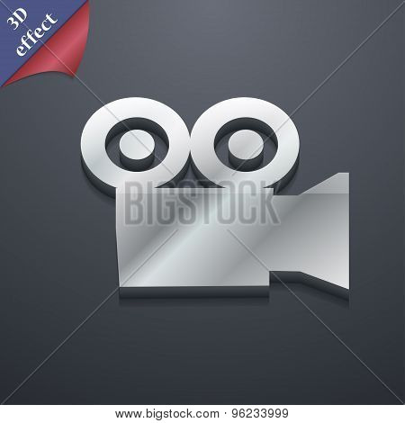 Video Camera Icon Symbol. 3D Style. Trendy, Modern Design With Space For Your Text Vector