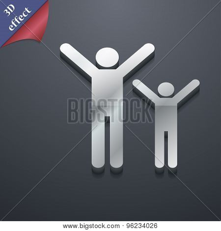 Happy Family Icon Symbol. 3D Style. Trendy, Modern Design With Space For Your Text Vector