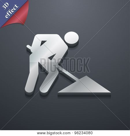 Repair Of Road, Construction Work Icon Symbol. 3D Style. Trendy, Modern Design With Space For Your T