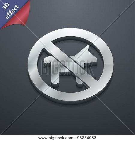 Dog Walking Is Prohibited Icon Symbol. 3D Style. Trendy, Modern Design With Space For Your Text Vect