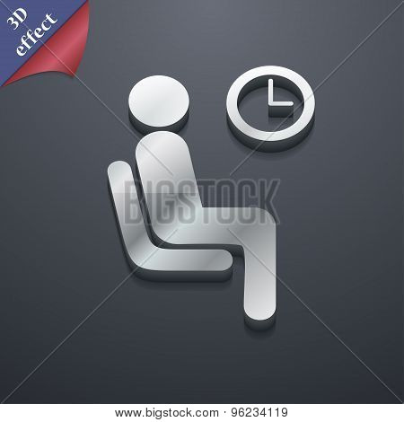 Waiting Icon Symbol. 3D Style. Trendy, Modern Design With Space For Your Text Vector