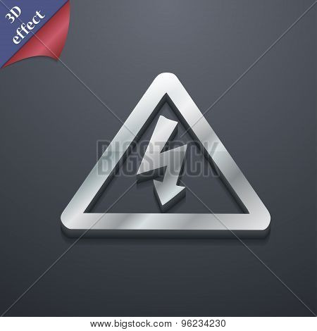 Voltage Icon Symbol. 3D Style. Trendy, Modern Design With Space For Your Text Vector