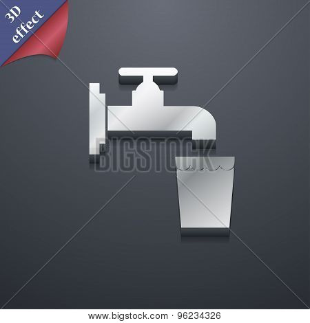 Faucet, Glass, Water Icon Symbol. 3D Style. Trendy, Modern Design With Space For Your Text Vector