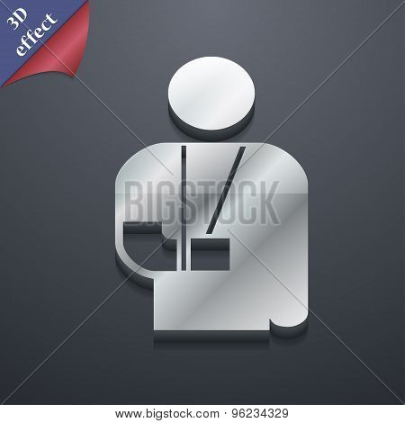 Broken Arm, Disability Icon Symbol. 3D Style. Trendy, Modern Design With Space For Your Text Vector