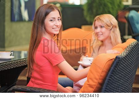 Two girlfriends communicating in cafe
