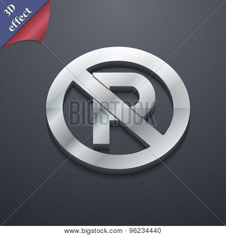 No Parking Icon Symbol. 3D Style. Trendy, Modern Design With Space For Your Text Vector