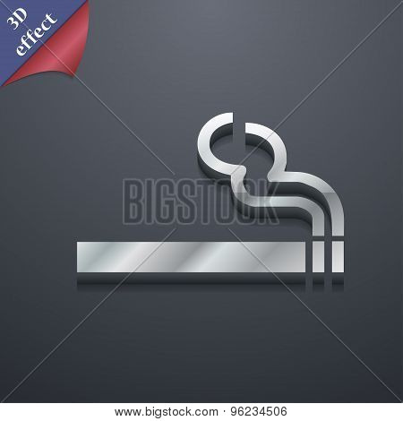 Cigarette Smoke Icon Symbol. 3D Style. Trendy, Modern Design With Space For Your Text Vector