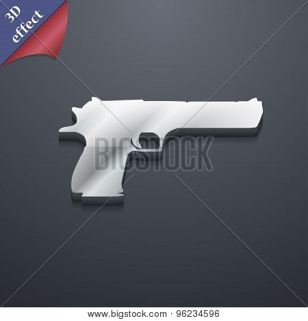 Gun Icon Symbol. 3D Style. Trendy, Modern Design With Space For Your Text Vector