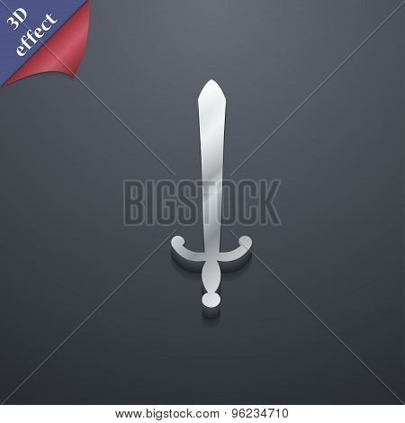 The Sword Icon Symbol. 3D Style. Trendy, Modern Design With Space For Your Text Vector