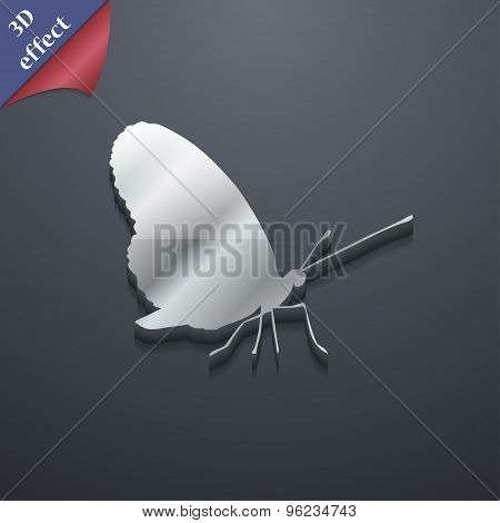 Butterfly Icon Symbol. 3D Style. Trendy, Modern Design With Space For Your Text Vector
