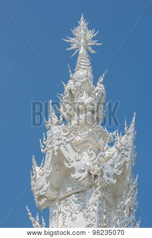 Wat Rong Khun Or White Temple White Buddhist Temple Roof
