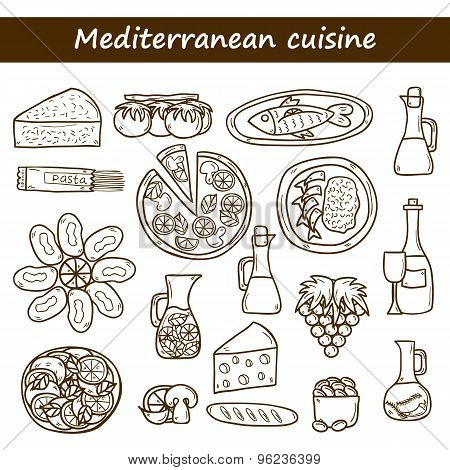 Set of cute hand drawn cartoon objects on mediterranean cuisine theme: tomato, pasta, wine, cheese,