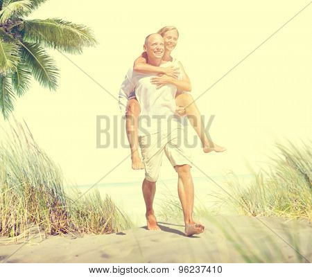 Couple Beach Bonding Getaway Romance Holiday Concept