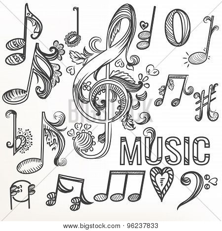 Sketchy Doodle Set Treble Clef And Other Music Symbols