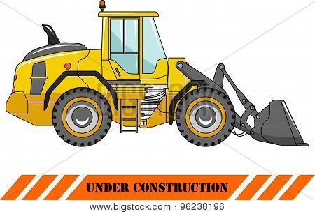Wheel loader. Heavy construction machine. Vector illustration