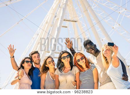 Group Of Multiracial Happy Friends Taking A Selfie At Ferris Wheel - International Happiness Concept