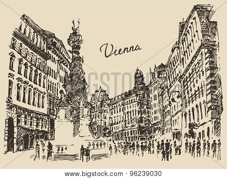 Streets in Vienna Austria hand drawn illustration
