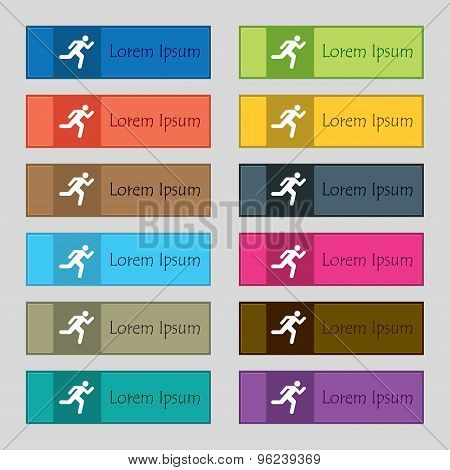 Running Man Icon Sign. Set Of Twelve Rectangular, Colorful, Beautiful, High-quality Buttons For The