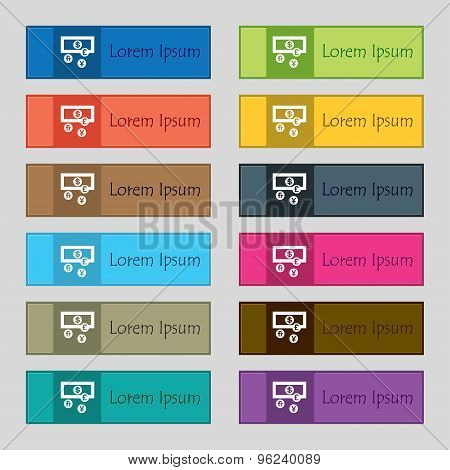 Currencies Of The World Icon Sign. Set Of Twelve Rectangular, Colorful, Beautiful, High-quality Butt